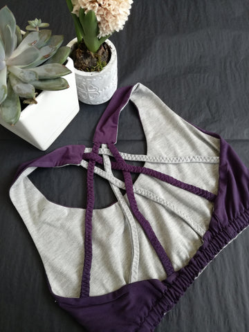 Yoga Crop Purple & Grey