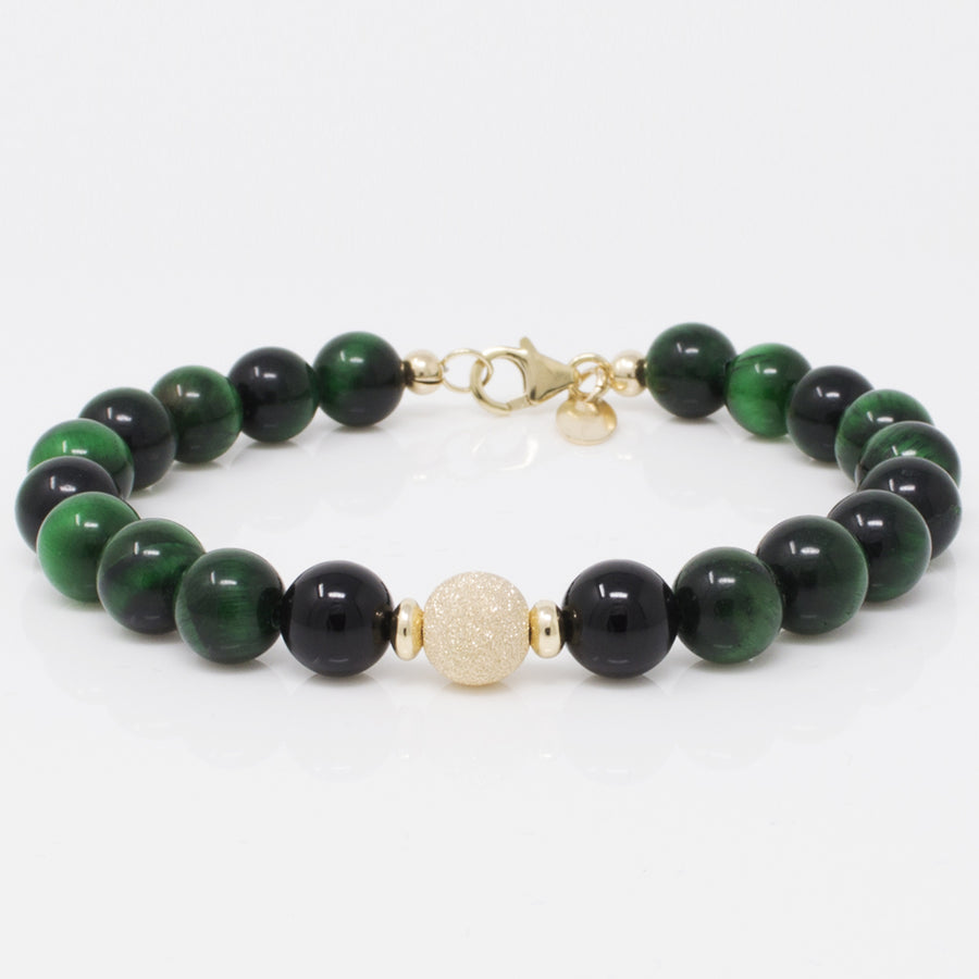 NATURAL GREEN ONYX BRACELET ALONG WITH SPAKLING GOLD STARDUST BEAD