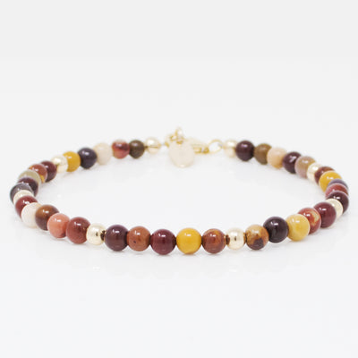 Natural Stone Mookaite Bracelet Along With 14k Gold Filled