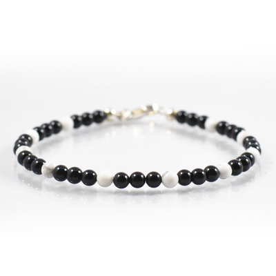 Black Onyx and Howlite Bracelet
