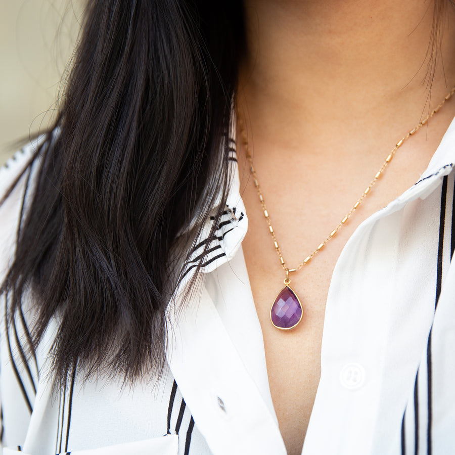 Amethyst Necklace | Women Jewelry | Stone Jewelry | Pendant Necklace