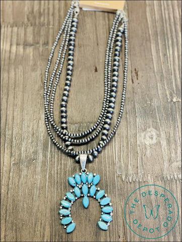 4 Strand Faux Turquoise Squash Necklace Necklaces