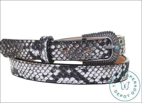Cobra Snake Print Belt With Turquoise Stone Belts