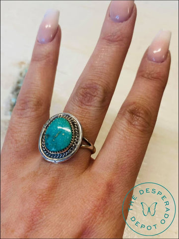 Round Turquoise And Silver Ring - Size 7.5 Rings