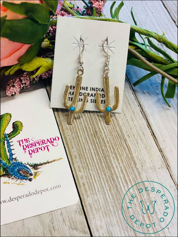 Small Genuine Turquoise Cactus Earrings
