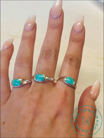 Turquoise Stacker And Silver Rings - 3 Different Sizes
