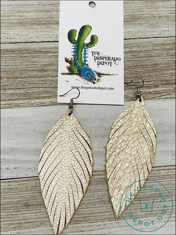 Whimsical Feather Earrings- Platinum Earrings