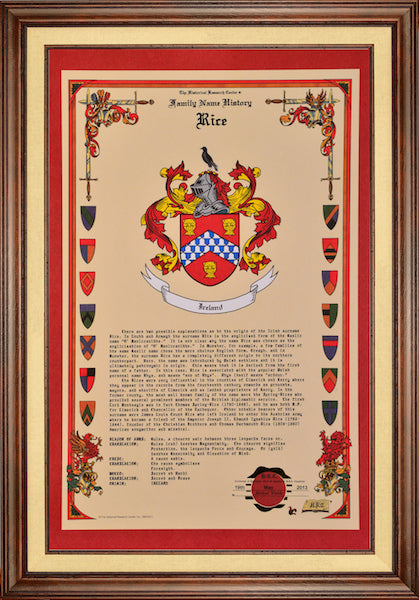 history of your Family Name and an authentic full-color image of the historical Coat of Arms