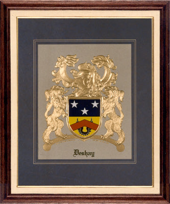 EXCLUSIVE Gold Embossed Coat of Arms in Cherrywood Frame