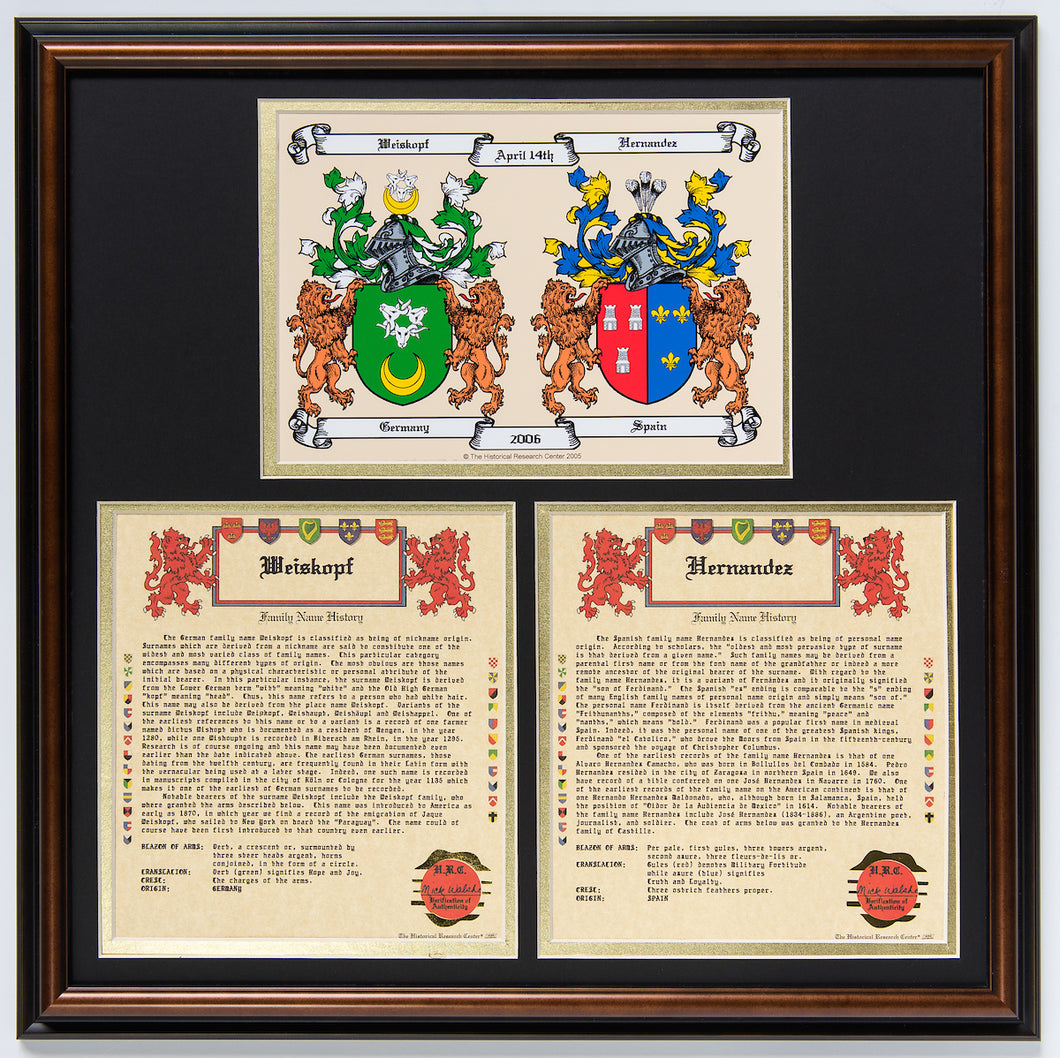 Family Name Histories and Coats of Arms from both sides of the family.