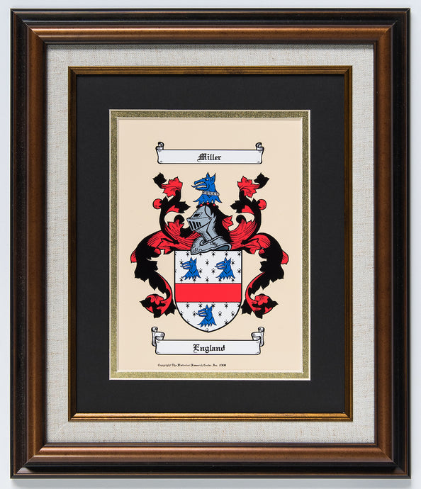 Full-color coat of arms or family crest with Cherry frame