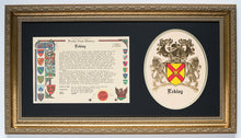 Embossed Coat of Arms and Family Name History in Gold Frame