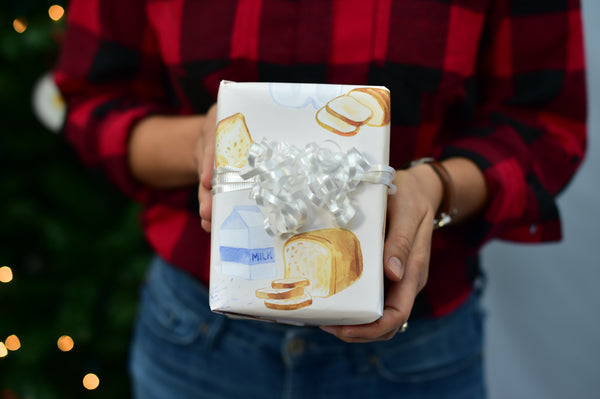 Bread, Milk & Snow Wrapping Paper Set of 3