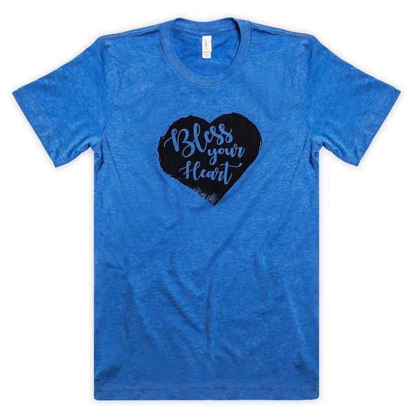 "Heart Design ""Bless Your Heart"" Short Sleeve Tee - Royal Blue"