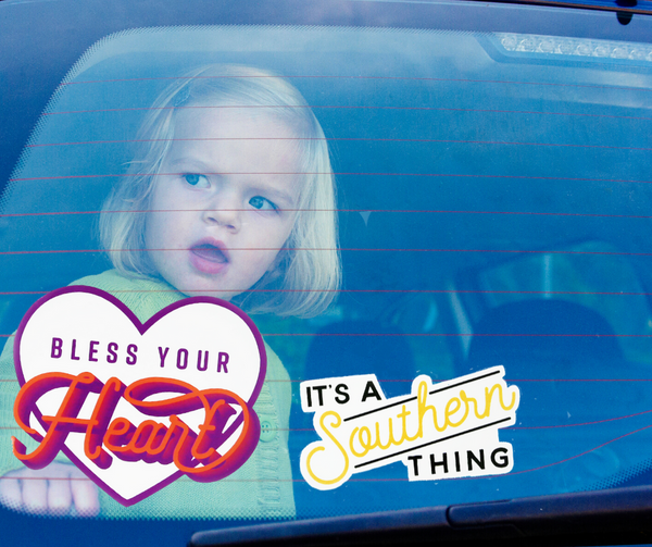 Large Bless Your Heart Static Cling Window Stickers