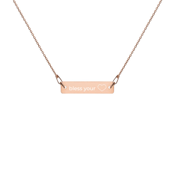Bless Your Heart Engraved Bar Chain Necklace