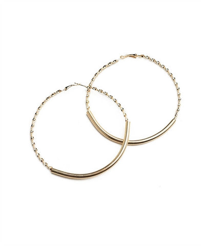 Women's Earrings Hoop Twisted Polish Finish Gold Color