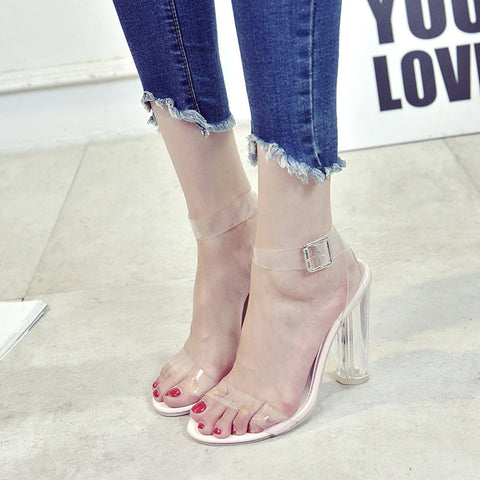 Fashion Women Hasp Transparent Thick Heel High-Heeled Shoes Sandals