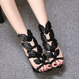 Fashion Women Pumps Leaf Flame High Heel Shoes Sexy Peep Toe High Heels Sandals