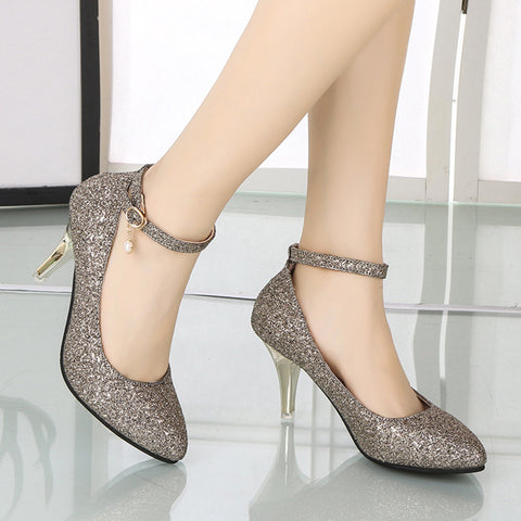 Women Ladies Sandals Pointed Toe High Heels Party Office Solid Straps Heel Shoes