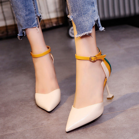 Women's Fashion Thin Heels Shoes Patchwork Ankle Strap High Heels Shoes