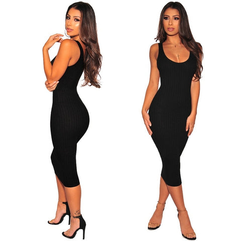 Adogirl Solid Ribbed Tank Dress for Women O Neck Sleeveless Bodycon Midi Club Party Dresses Casual Vest Vestidos Knitted Dress