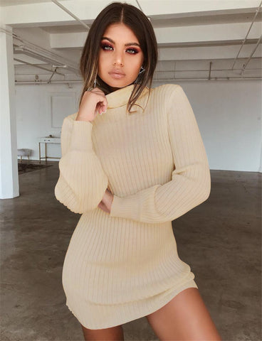 Autumn Knitted Long Sleeve Dress Solid Pullover Turtleneck Bodycon Dress Mini Latern sleeve Sweater Vintage Sexy Slim Knit Dress