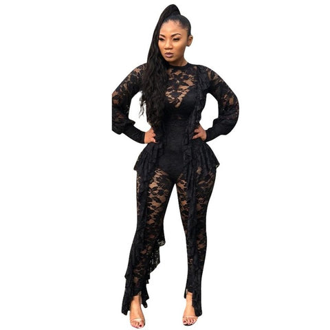 Adogirl Ruffle Sheer Lace Jumpsuit O Neck Long Lantern Sleeve Women Romper Sexy Night Club Party Overalls Female Playsuits