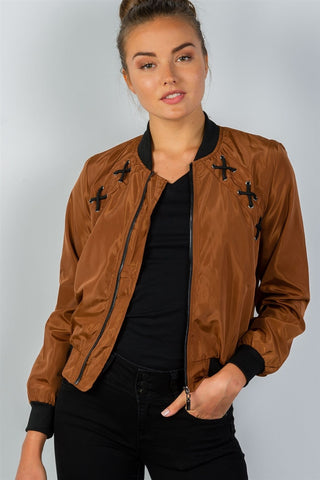 Front Zipper Closure Lace-up Bomber Jacket