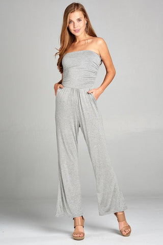 Tube Top Jumpsuit - Grey