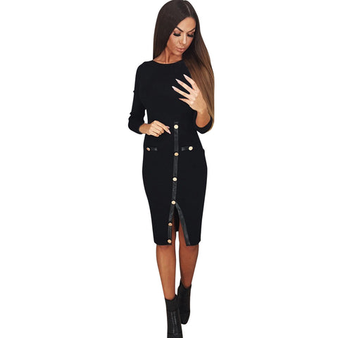 Womens Long Sleeve O Neck Bodycon Cocktail Party Wrap Split Midi Dress Stylish Sheath Solid Color sexy dress New Arrival 2019
