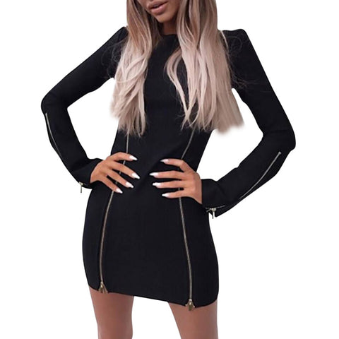 Women Fashion Casual Long Sleeve Zipper Patchwork Mini Dress Personalized wild Solid O-neck Sheath sexy dress New Arrival 2019