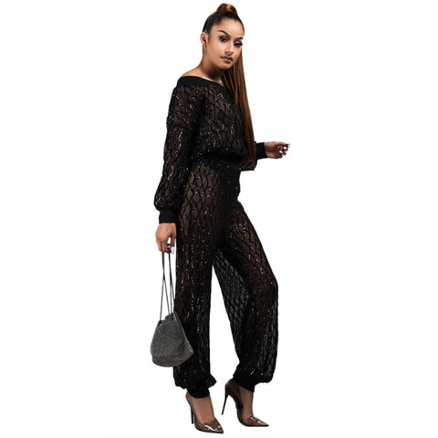 Adogirl Plaid Sequins Sheer Mesh Two Piece Set Women Off Shoulder Lantern Sleeve Shirt Top + Bloomers Pants with Briefs Clubwear