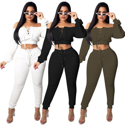 Grommet Lace Up Pants Set 2 Pieces Set