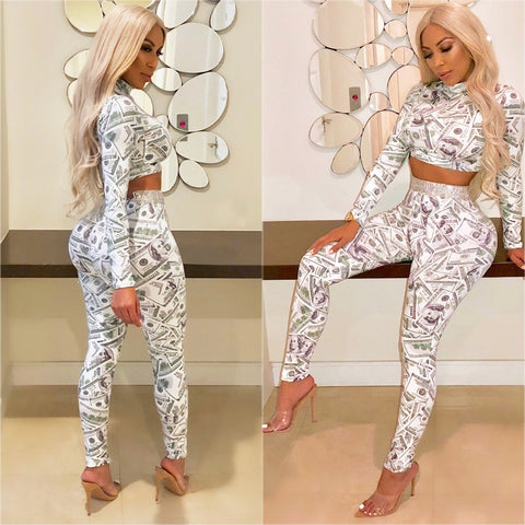 2 Pieces Set Club Women Dollar Bill Printing Slim Bodycon Crop Top Pants