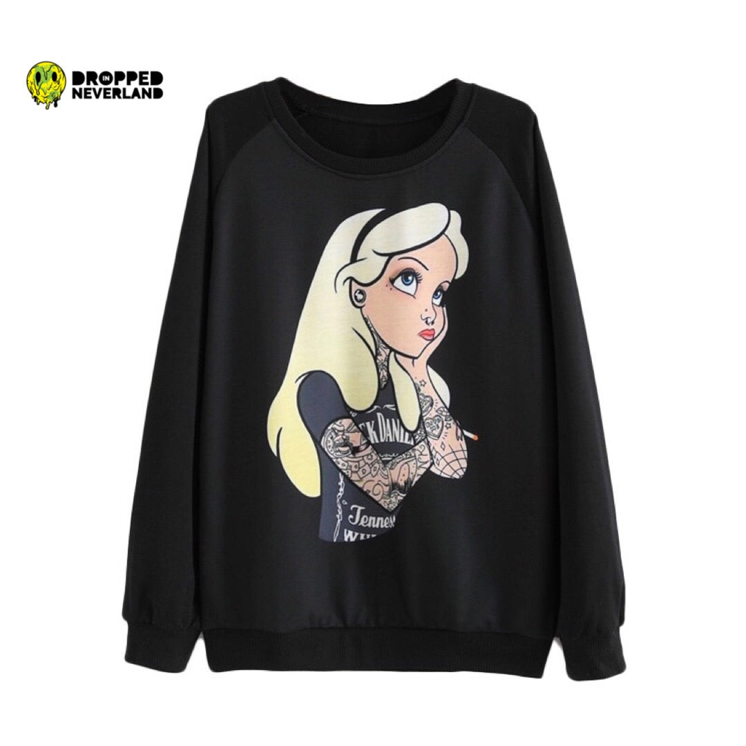 Alice In Wonderland Sweater Pullover Tattooed Dropped In Neverland