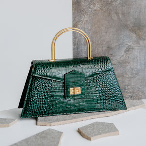 Dark Green Croc Medium Le Book  (Pre-order)