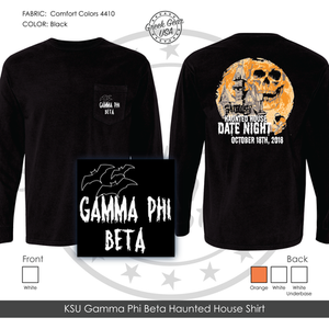 KSU Gamma Phi Beta Haunted House Shirt Fall 2018