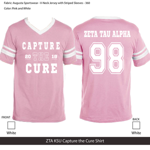 KSU ZTA Capture the Cure shirt fall 2018