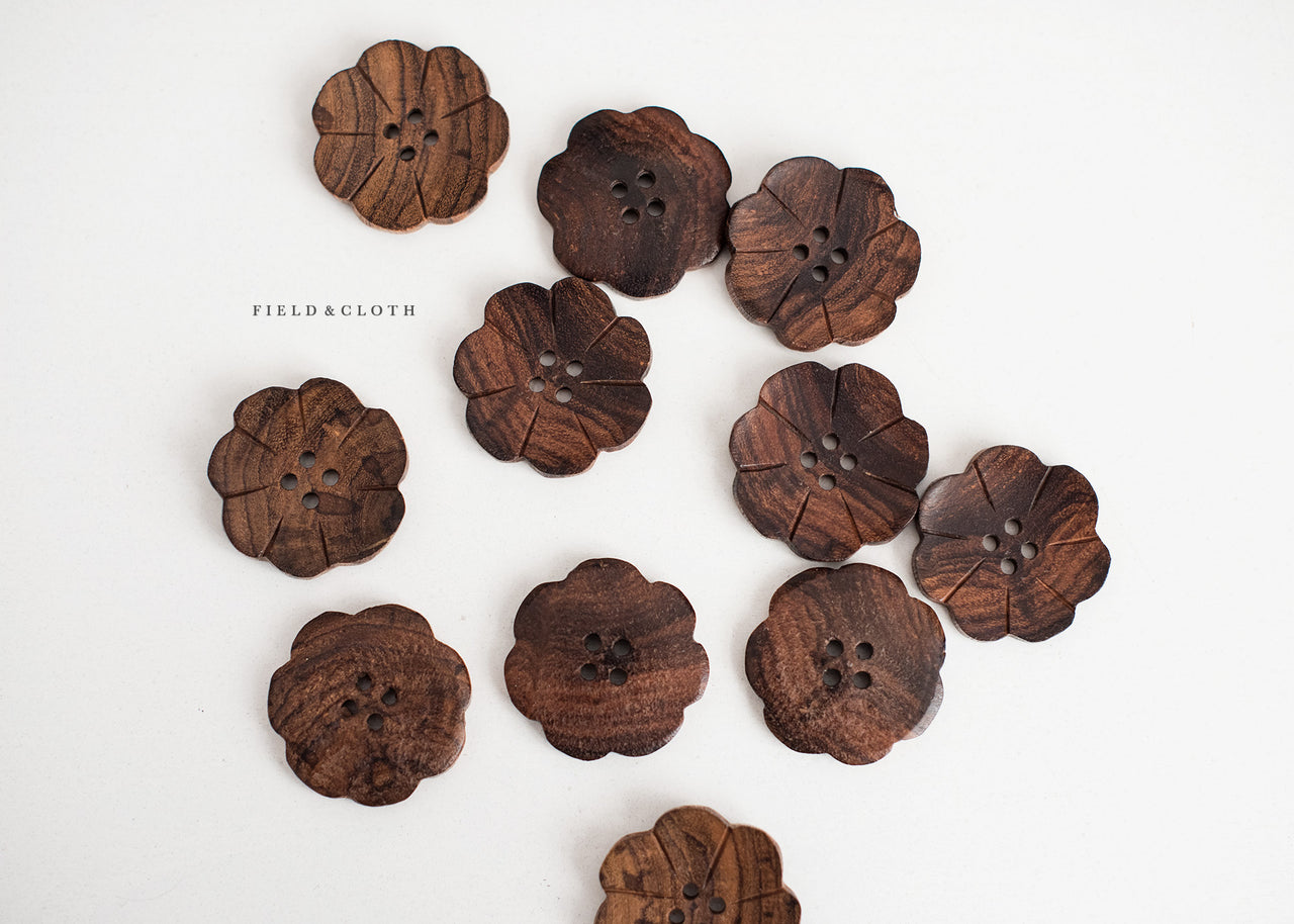 Oversized Dark Wooden Flower