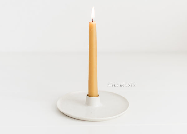 Hand-Thrown Farmhouse Candle Holder in White