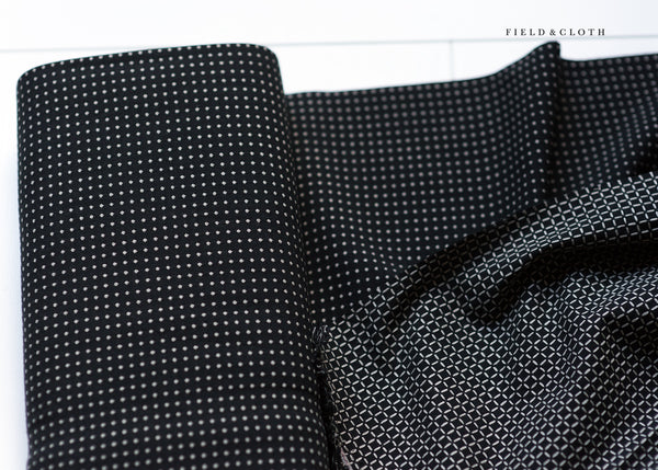 Japanese Yarn Dyed Stitched Dots in Black and Cream