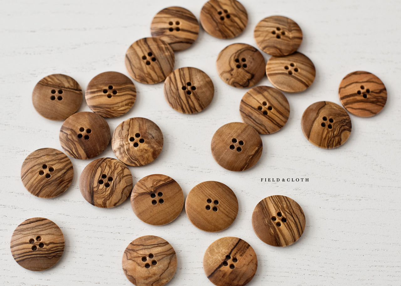 Large Round Wooden Button