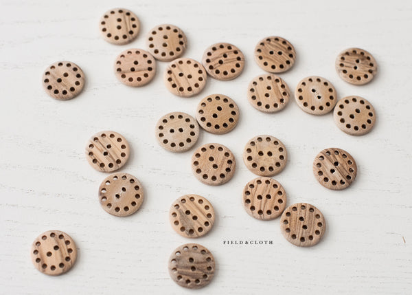 Wooden Polka Dot Edge Button