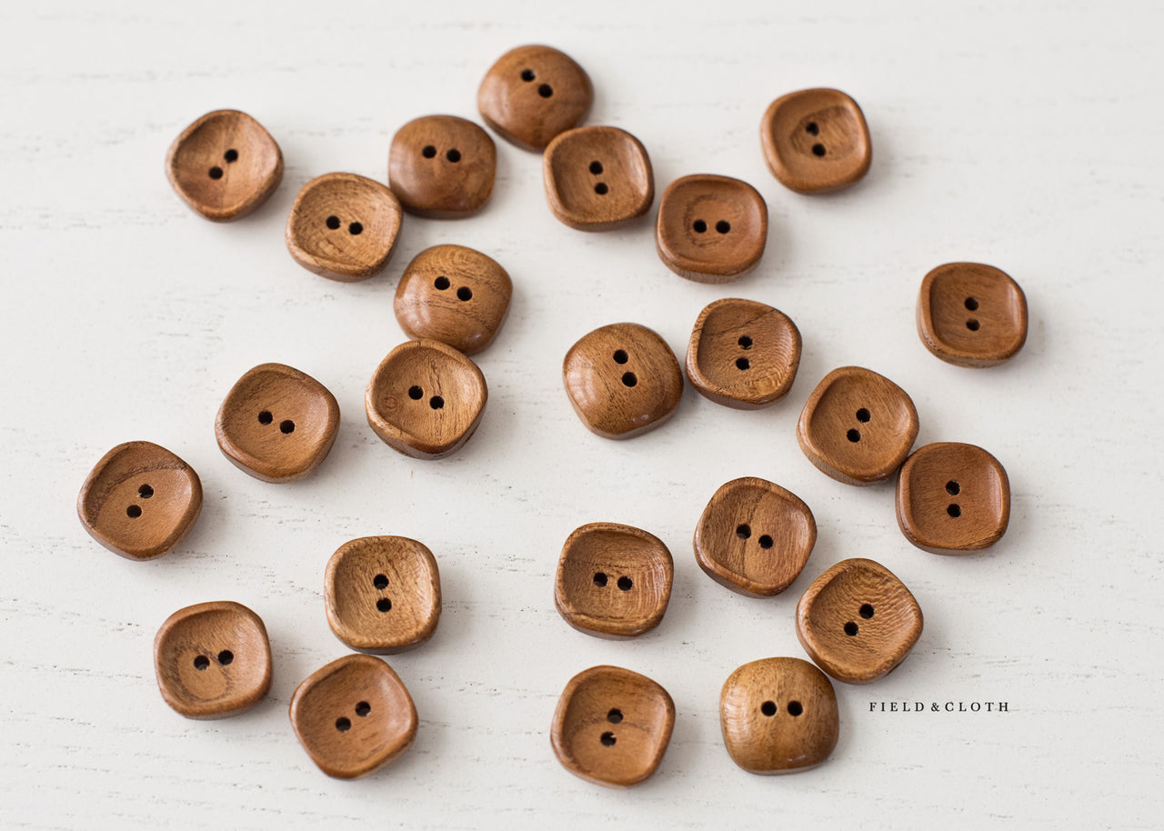 Square Wooden Button