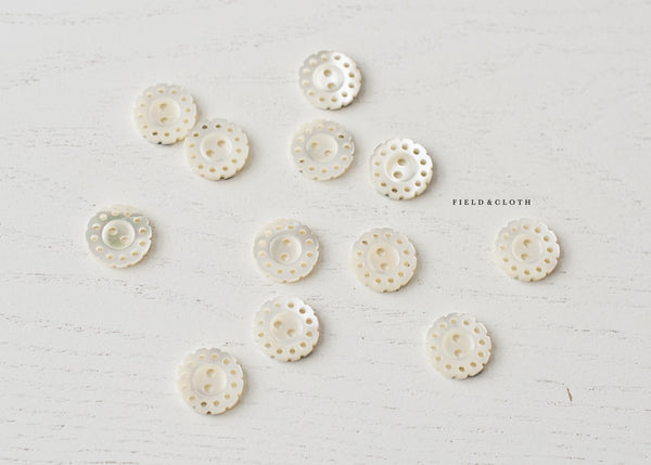 White Shell Dainty Button