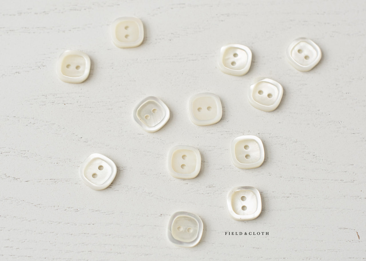 White Shell Square Button