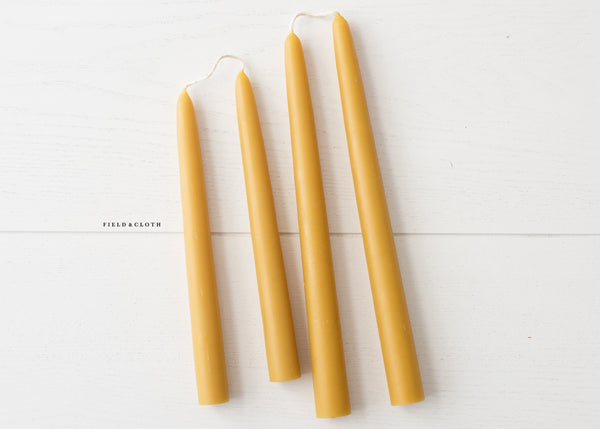 Hand Dipped Artisanal Beeswax Candle Pair 10""