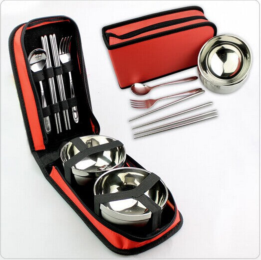 Outdoor bowls of stainless steel tableware equipment supplies portable home camping double package tour cutlery set for a picnic