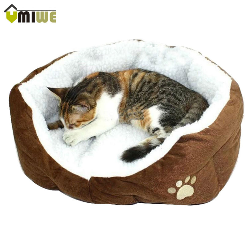 Umiwe Washable Soft Warm Paw Style Cat Dog Beds Nest Pad Mat Fleece Pets House Cat Puppy Dog Sofa Bed House With Cushion Mat